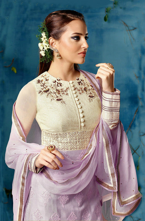 Lavender Chiffon Embroidered Straight Suit-Saira's Boutique