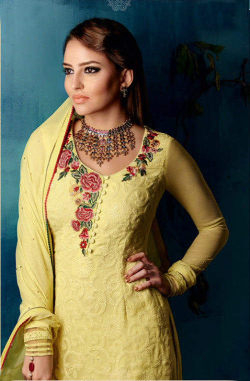 Yellow Georgette Embroidered Straight Suit-Saira's Boutique
