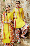 Yellow Pure Cotton Satin Patiala Suit-Saira's Boutique