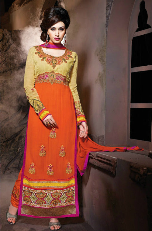 Orange Georgette Embroidered Churidar Suit-Saira's Boutique