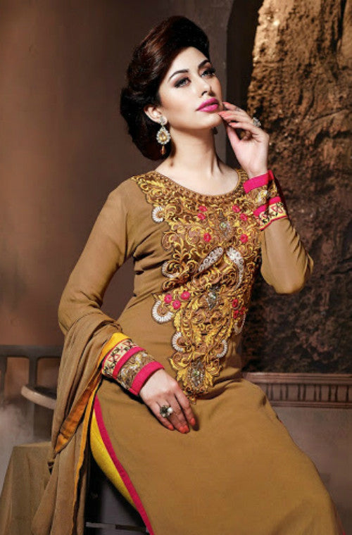Brown Georgette Embroidered Churidar Suit - Saira's Boutique