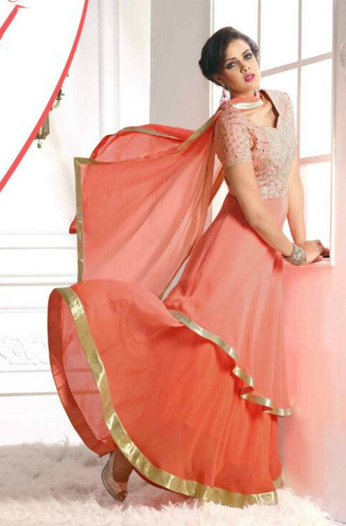 Peach Georgette Embroidered Anarkali Suit - Saira's Boutique