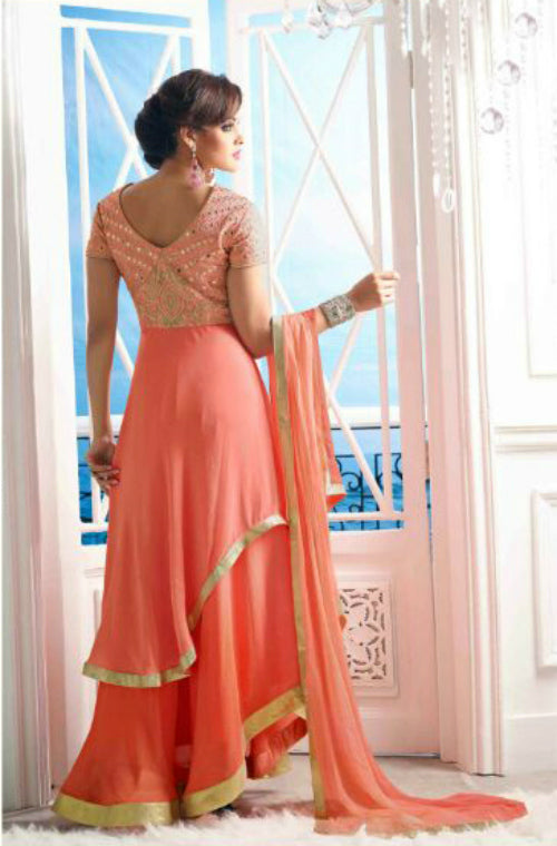 Peach Georgette Embroidered Anarkali Suit-Saira's Boutique
