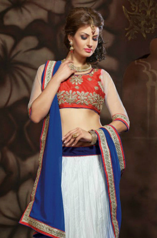 White Designer Embroidered Net Lehenga-Saira's Boutique