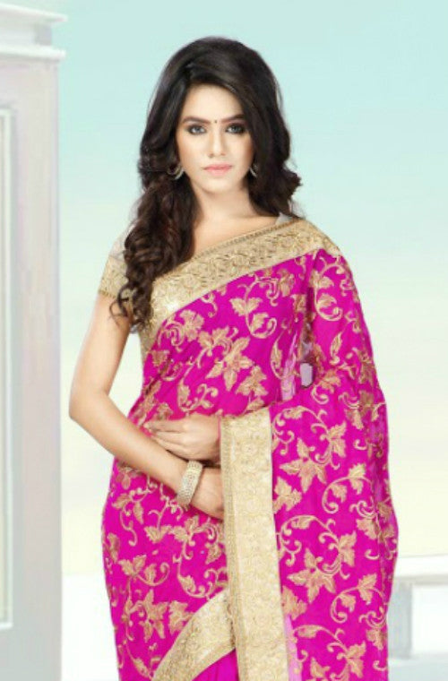 Royal Magenta Padding Embroidered Saree-Saira's Boutique