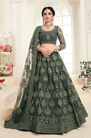Black Multicolor Designer Embroidered Silk Floral Print Lehenga Choli