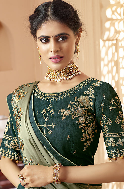 Sage Green & Dark Green Designer Embroidered Satin Georgette Saree-Saira's Boutique