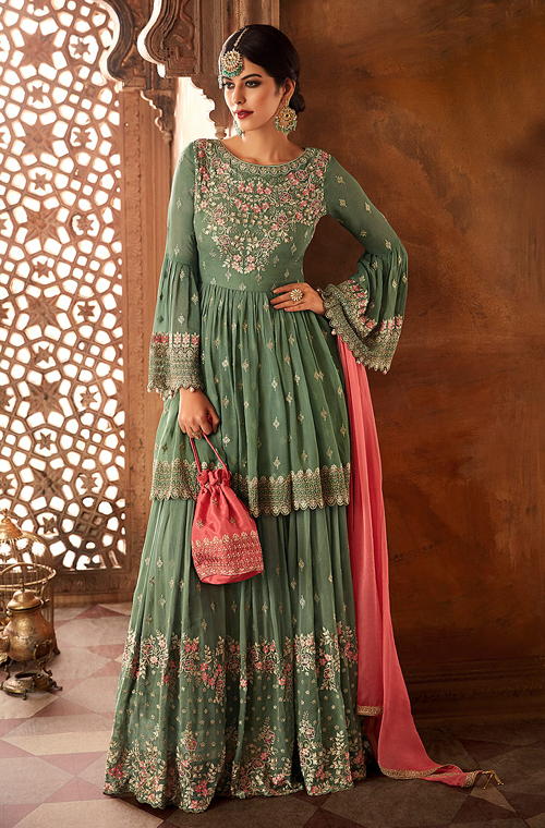 Sage Green & Coral Pink Designer Heavy Embroidered Georgette Sharara Suit-Saira's Boutique