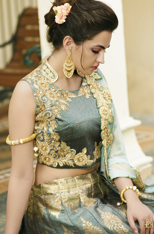 Sage Green Designer Embroidered Banarasi Silk Wedding Lehenga Choli