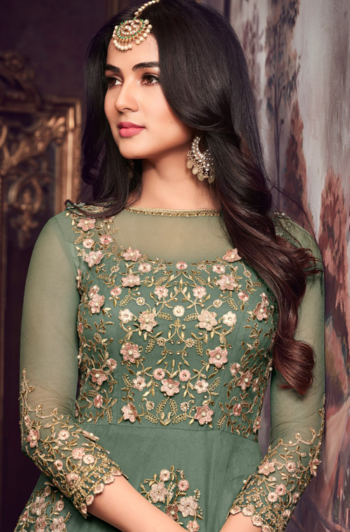 Sage Green Designer Embroidered Net Anarkali Suit-Saira's Boutique