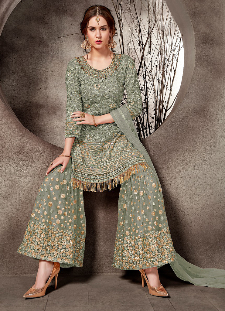 Sage Green Designer Embroidered Net Party Wear Gharara Suit-Saira's Boutique