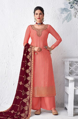 Pastel Pink Designer Embroidered Georgette Sharara Suit