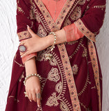 Salmon Pink & Dark Wine Designer Embroidered Silk Party Wear Palazzo Suit-Saira's Boutique