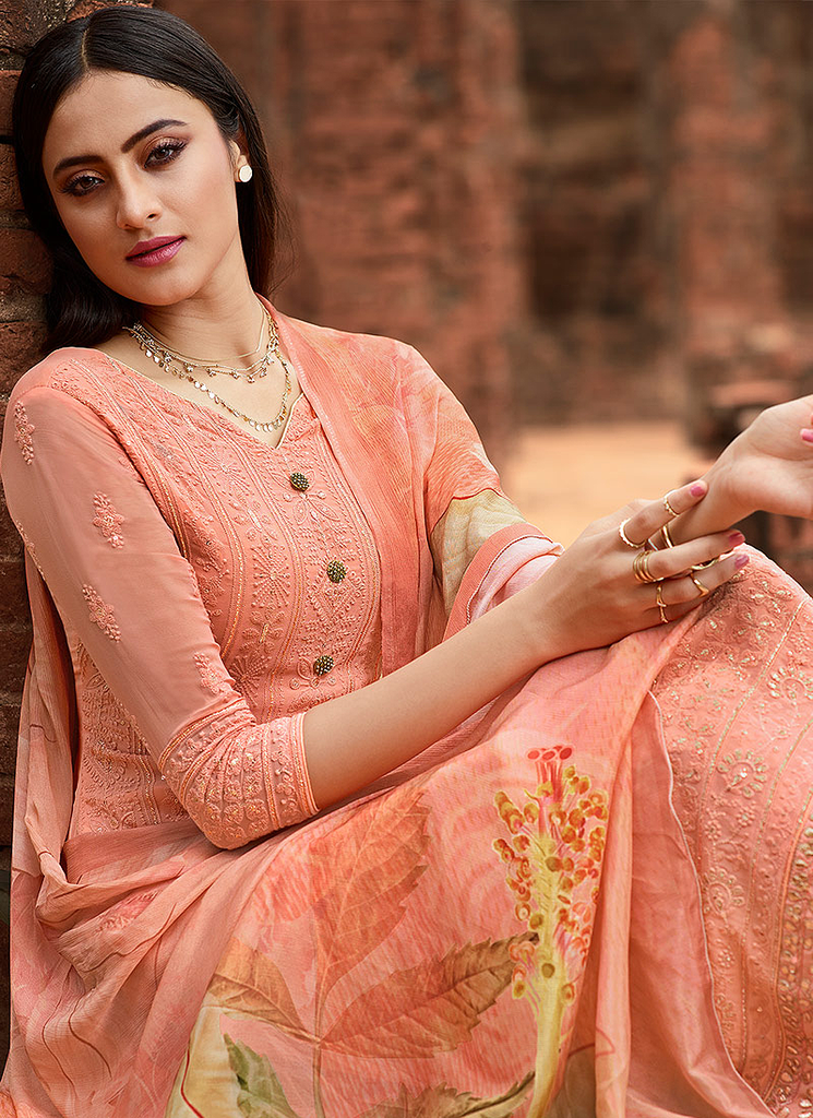 Salmon Peach Designer Embroidered Lucknowi Chikankari Pant Suit-Saira's Boutique