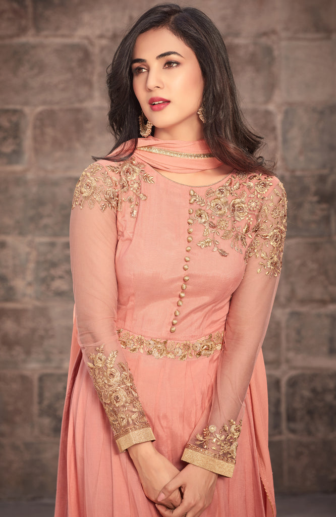 Salmon Peach Designer Embroidered Net Party Wear Anarkali Suit