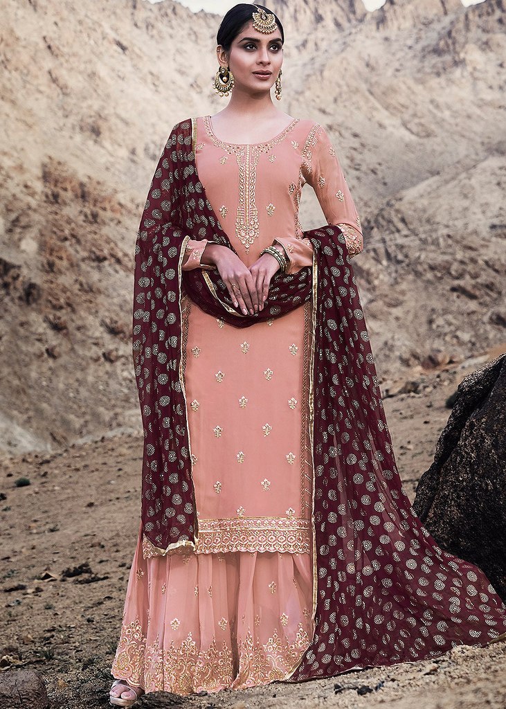 Salmon Peach & Wine Designer Embroidered Georgette Sharara Suit-Saira's Boutique