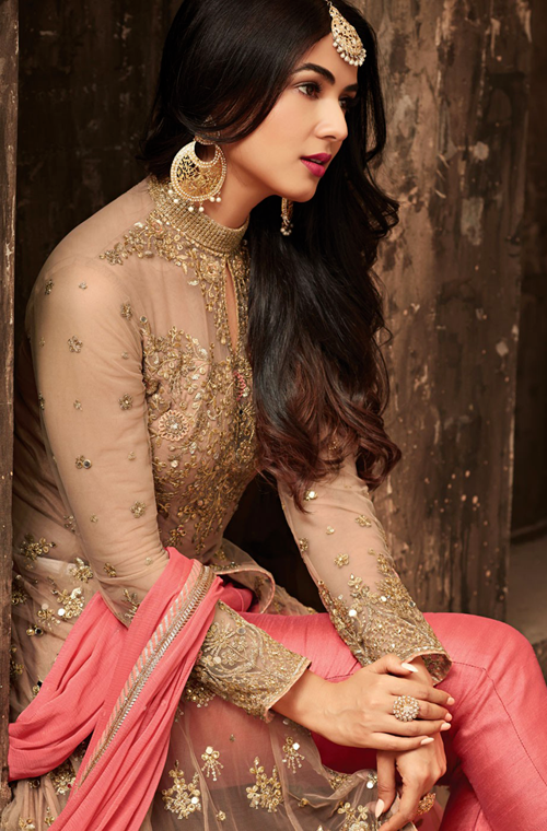Salmon Pink & Beige Designer Heavy Embroidered Net Wedding Anarkali Lehenga