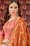 Salmon Pink & Brown Designer Embroidered Silk Wedding Patiala Suit-Saira's Boutique