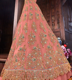 Salmon Pink & Gray Designer Heavy Embroidered Bridal Anarkali Gown-Saira's Boutique