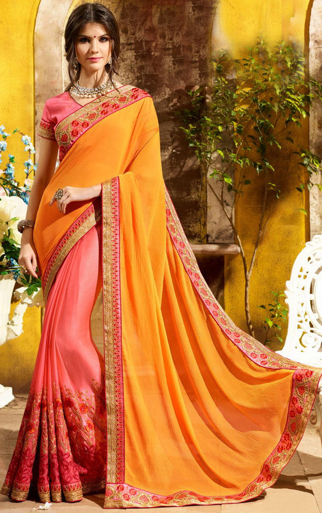 Salmon Pink & Mustard Yellow Designer Embroidered Georgette Party Wear Saree