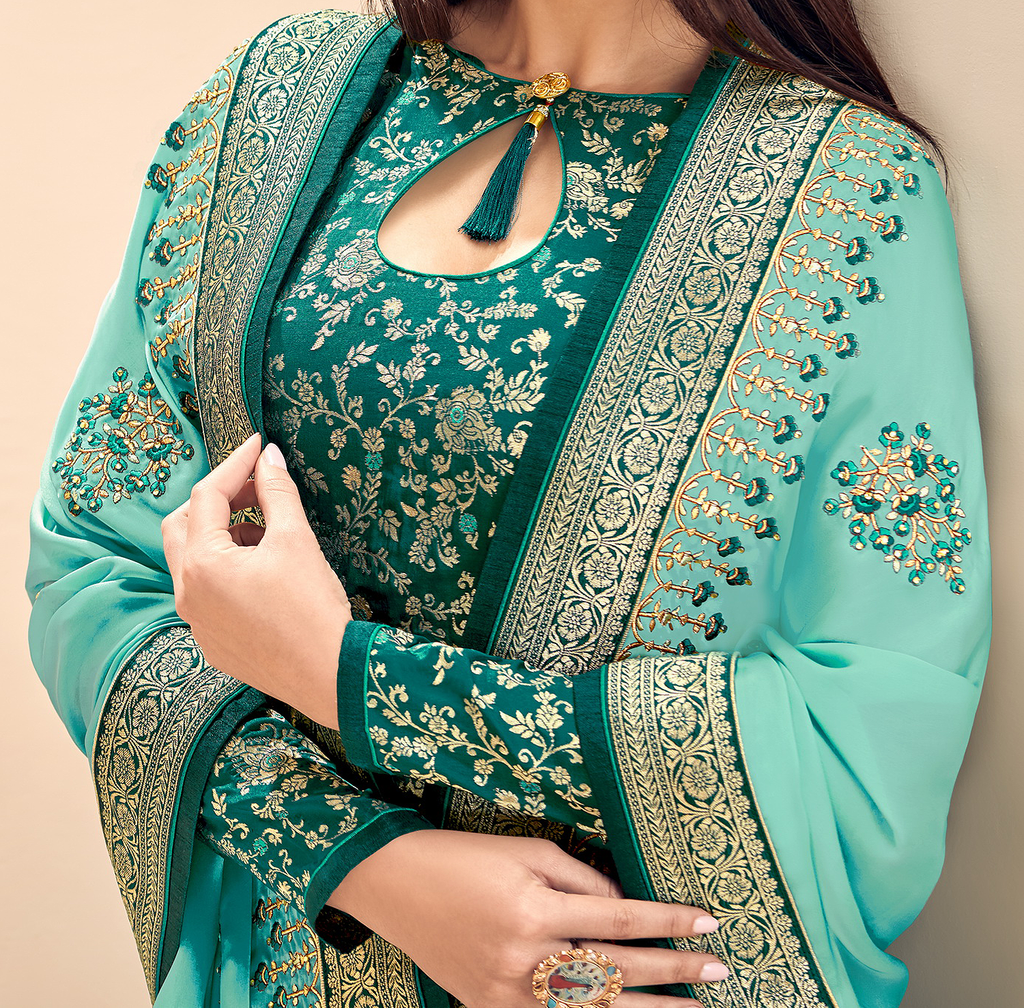 Sea Green & Turquoise Designer Embroidered Silk Jacquard Palazzo Suit-Saira's Boutique