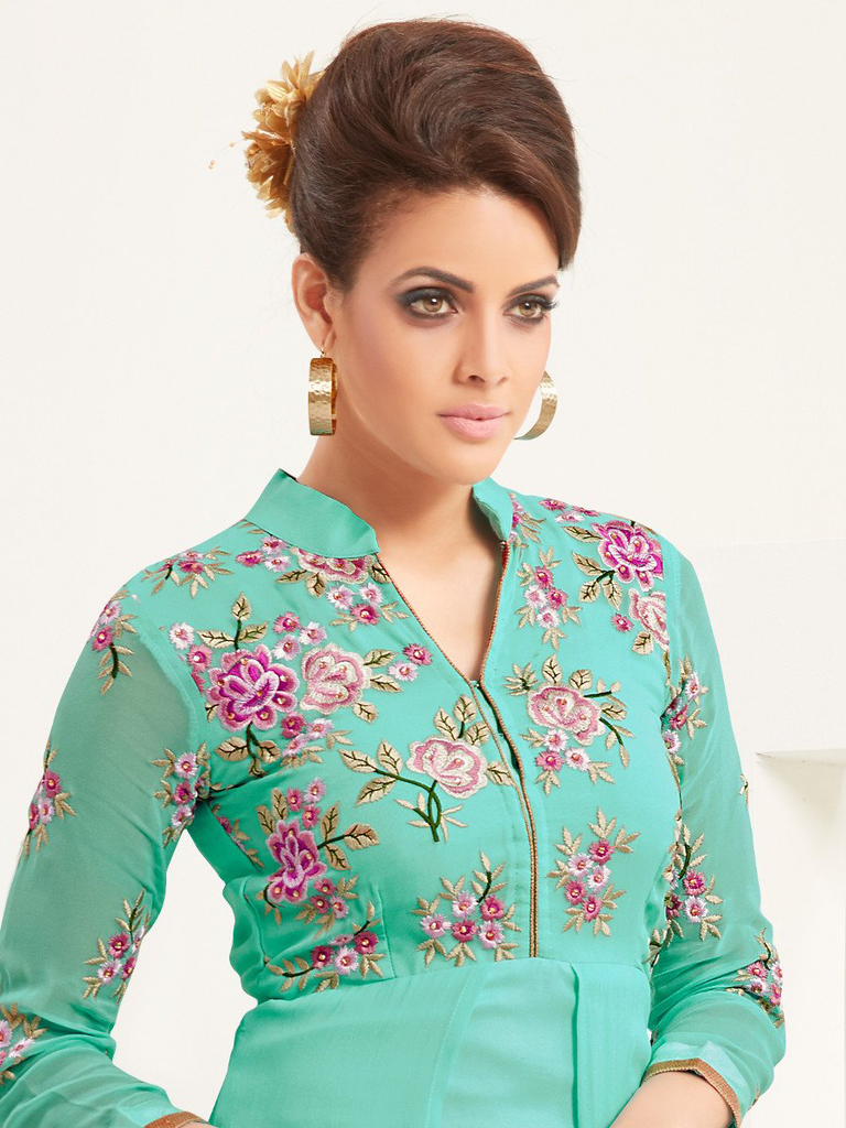 Sea Green Designer Embroidered Georgette Indo-Western Kurti-Saira's Boutique