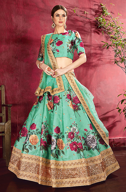 Sea Green Designer Embroidered Silk Floral Print Lehenga Choli-Saira's Boutique