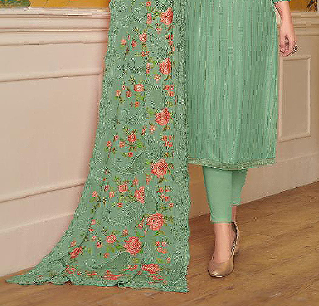 Sea Green Designer Embroidered Silk Party Wear Pant Suit-Saira's Boutique