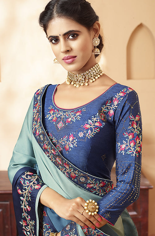 Shaded Blue Designer Embroidered Satin Georgette Saree-Saira's Boutique