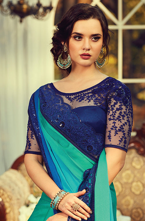 Shaded Blue & Green Designer Embroidered Silk Party Wear Saree-Saira's Boutique
