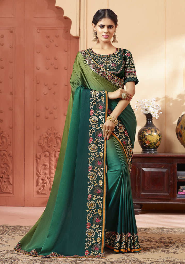 Shaded Green Designer Embroidered Satin Georgette Saree-Saira's Boutique