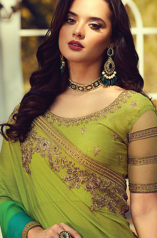 Shaded Olive & Green Designer Embroidered Silk Party Wear Saree-Saira's Boutique