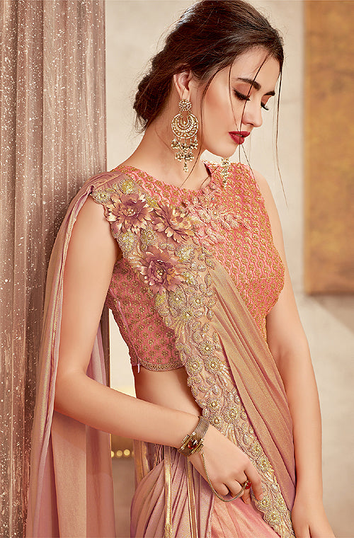 Shaded Peach & Gold Designer Embroidered Silk Wedding Lehenga-Saira's Boutique