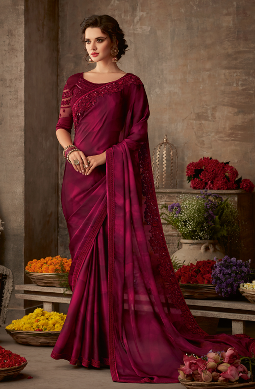 Shaded Burgundy Pink Designer Embroidered Silk Party Wear Saree-Saira's Boutique