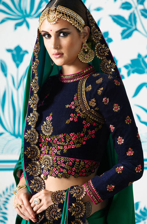 Shaded Green & Blue Designer Embroidered Bridal Silk Saree-Saira's Boutique