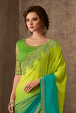 Shaded Green & Blue Designer Embroidered Silk Party Wear Saree-Saira's Boutique