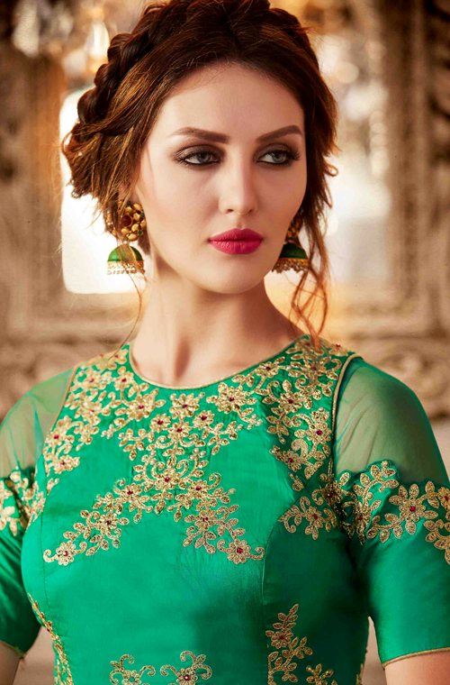 Shaded Green Designer Heavy Embroidered Silk Wedding Lehenga-Saira's Boutique