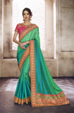 Shaded Green & Pink Designer Heavy Embroidered Silk Wedding Saree-Saira's Boutique