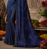 Shaded Ink Blue Designer Embroidered Silk Party Wear Saree-Saira's Boutique