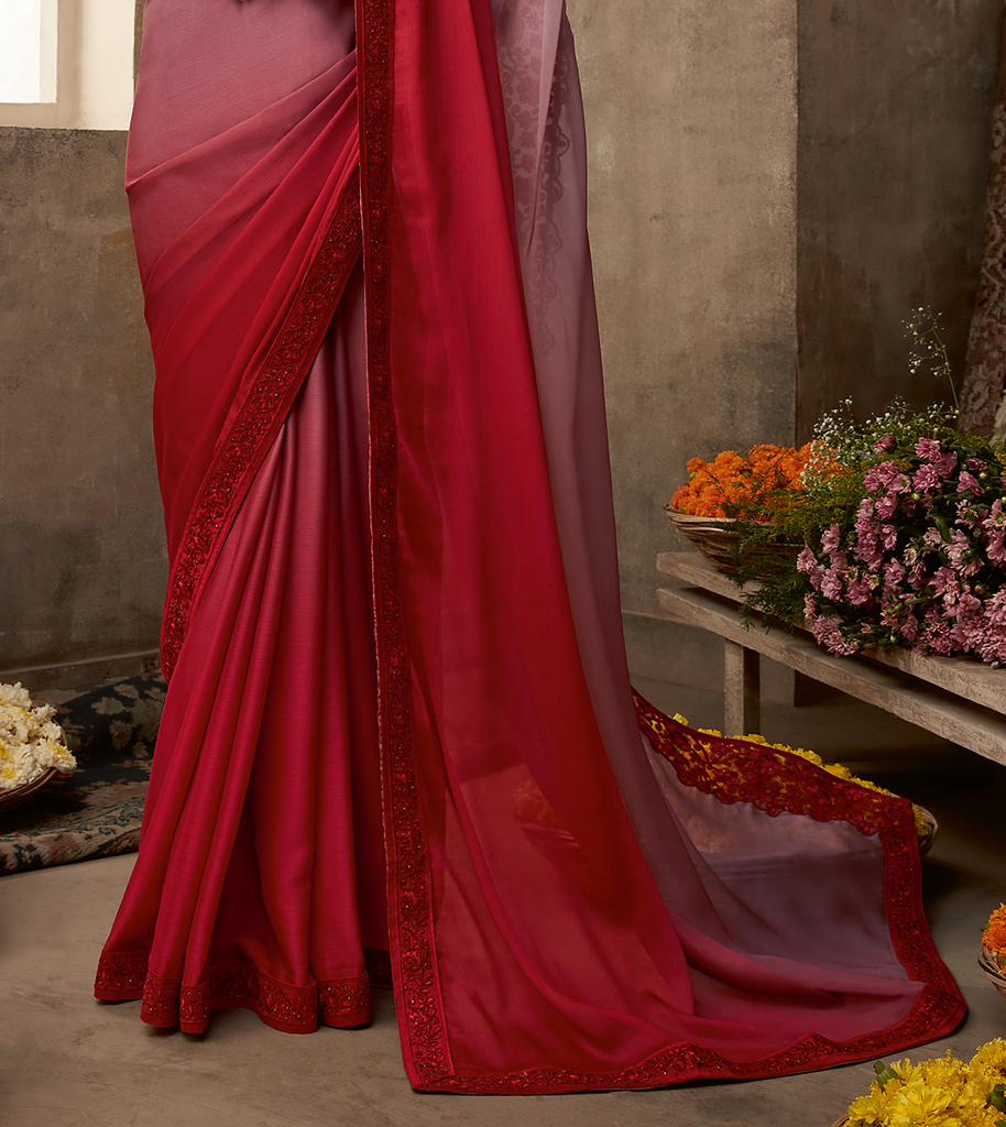 Shaded Mauve & Red Designer Embroidered Silk Party Wear Saree-Saira's Boutique