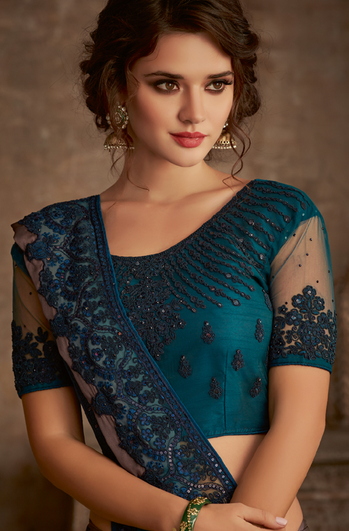 Shaded Mauve & Teal Designer Embroidered Silk Party Wear Saree-Saira's Boutique