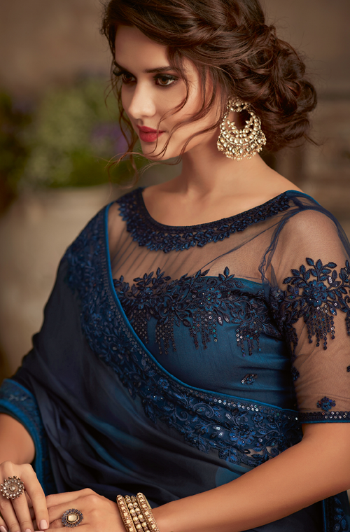 Shaded Midnight Blue Designer Embroidered Silk Party Wear Saree-Saira's Boutique