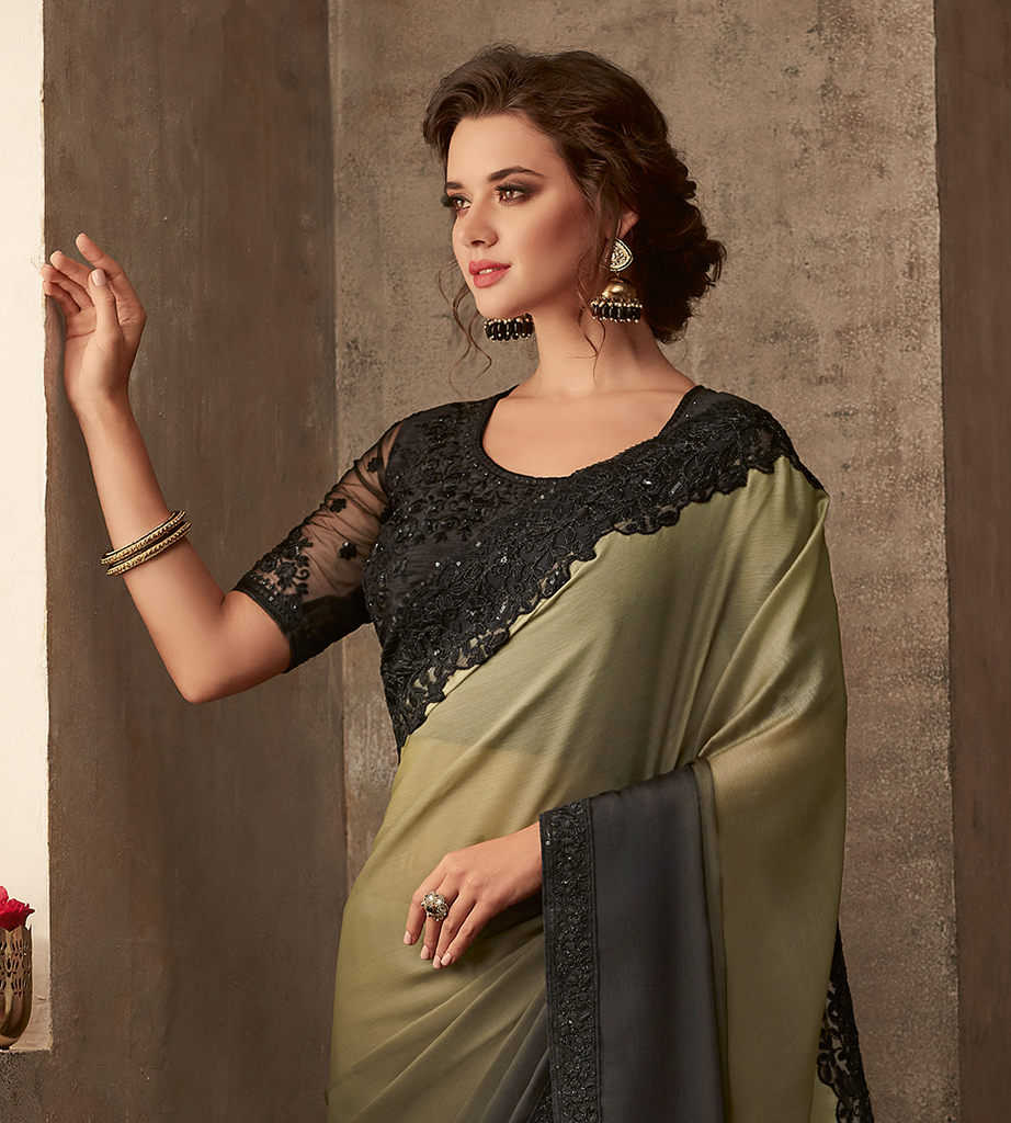 Shaded Olive Green & Black Designer Embroidered Silk Party Wear Saree-Saira's Boutique