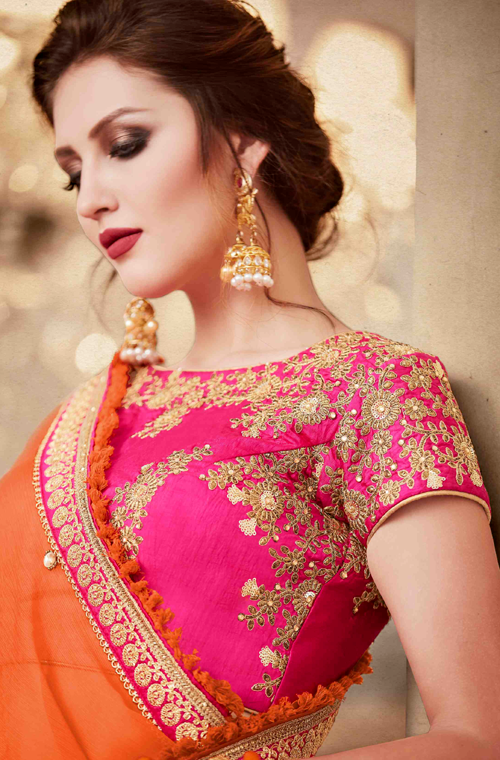 Shaded Orange & Fuchsia Pink Designer Heavy Embroidered Silk Wedding Lehenga-Saira's Boutique