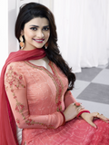 Shaded Peach Georgette Designer Embroidered Churidar Suit