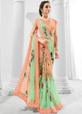 Shaded Peach & Mint Designer Floral Print Georgette Saree-Saira's Boutique