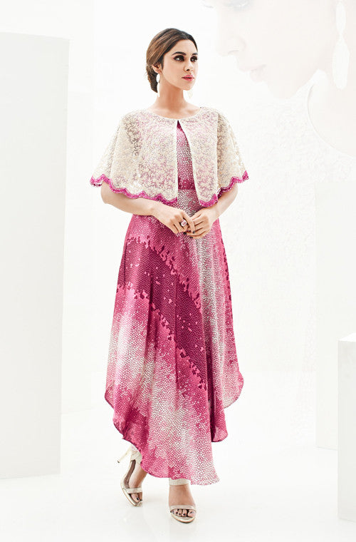Shaded Pink & Cream Designer Embroidered Satin & Net Indo-Western Dress