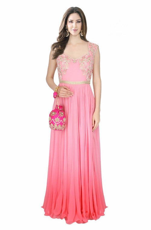 Shaded Pink Embroidered Designer Evening Gown – Saira\'s Boutique