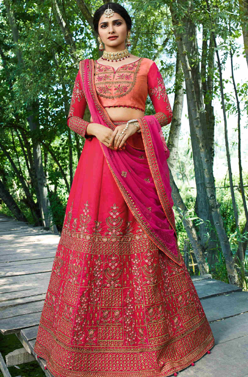 Shaded Pink & Peach Designer Embroidered Art Silk Wedding Lehenga Choli-Saira's Boutique