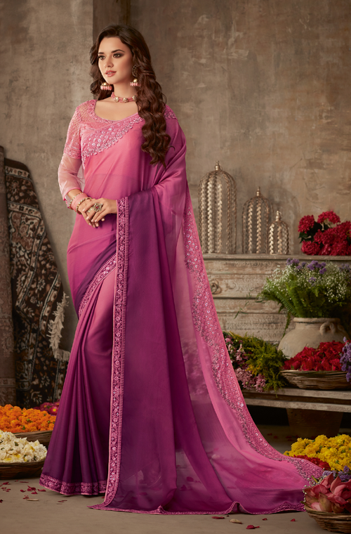 Shaded Pink & Purple Designer Embroidered Silk Party Wear Saree-Saira's Boutique
